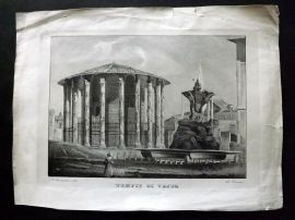 Danesi after Lazzarini C1830's Antique Print. Tempio di Vesta, Rome, Italy
